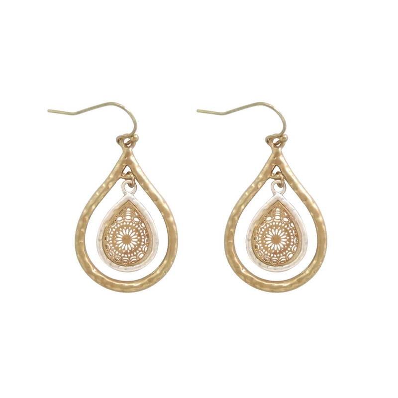 Pendientes con forma de lágrima y filigrana recortados de estilo marroquí a la moda, pendientes de gota de agua en Color dorado y plateado martillado para mujer, joyería Vintage