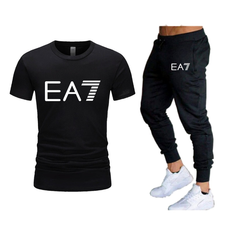 2021 Men's Casual Tracksuit Summer Clothes Sportswear Two Piece Set T Shirt Brand Track Clothing Male Sweatsuit Sports Suits