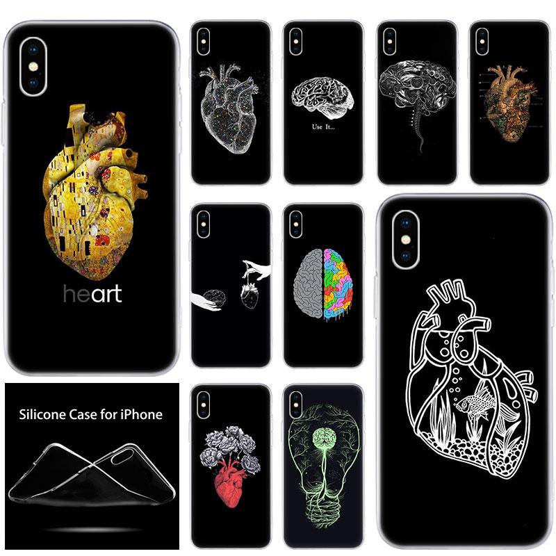 Luxo macio silicone telefone caso médicos órgãos humanos para apple iphone 11 pro xs max x xr 6 s 7 8 plus 5 5S se moda capa