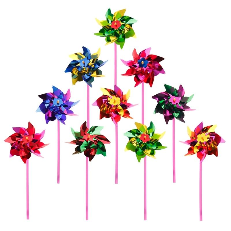 10Pcs Plastic Windmill Pinwheel Wind Spinner Kids Toy Garden Lawn Party Decor Drop Ship