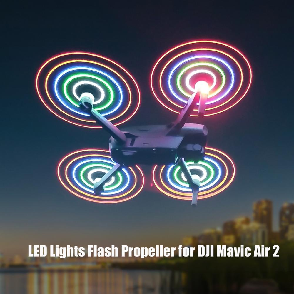 2 Pairs Mavic Air 2 LED فلاش المروحة 7238 قابلة للشحن ليلة تحلق الدعامة ل DJI Mavic Air 2S المروحة تمديد الملحقات