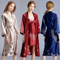 faux silk wedding pajamas lady spring summer long bridesmaid red bride morning robe home robe sleepwear nightdress