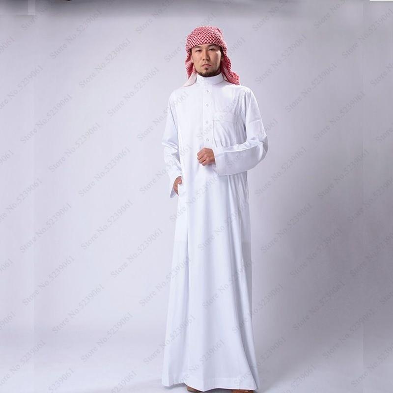 Hombres musulmanes Jubba Thobe Arabia Saudita vestido tradicional cabeza bufanda batas vestido islámico ropa Abaya Kaftan gorras Pakistán trajes