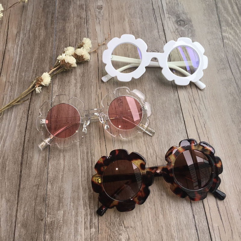 Vintage Kids Sunglasses Child Sun Glasses Round Flower Gafas Baby Children UV400 Sport Sunglasses Gi