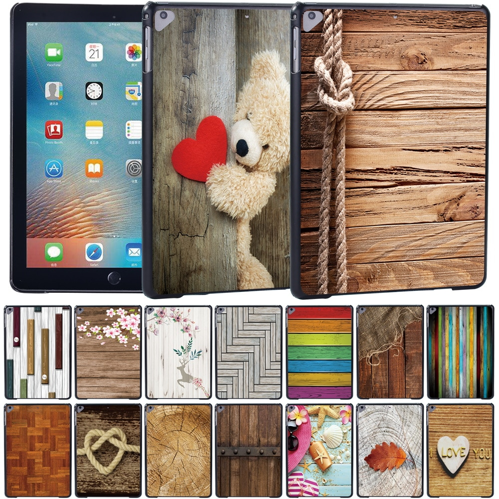 wood grain pu leather tablet cover for apple ipad air 1 ipad 5 stand case for ipad air 2 ipad 6 screen protector stylus pen For Apple IPad Air/iPad Air 2/iPad Air 3 10.5 (2019)/iPad Air 4 2020 10.9 Wood Series High-Quality Plastic Tablet Case + Pen