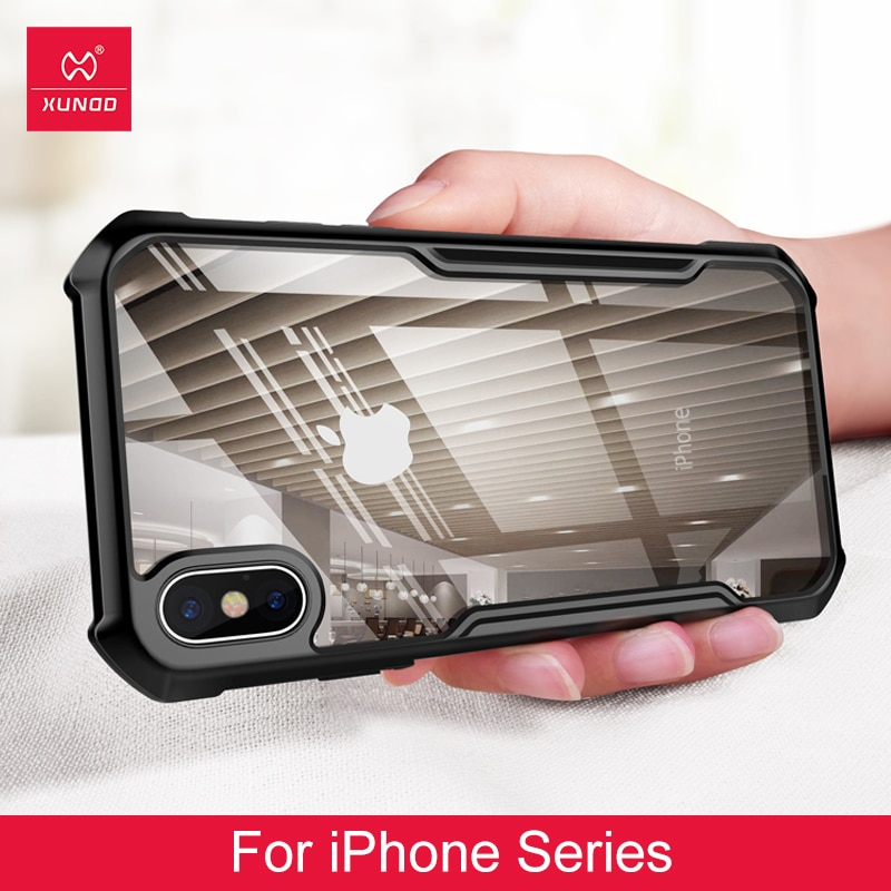 Para iPhone 7 plus 8 plus XR X XS MAX 6 plus funda XUNDD transparente acrílico + TPU a prueba de golpes teléfono funda anillo cubierta protectora