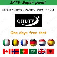 10 pièces 1 an QHDTV + Plus IPTV prend en charge le panneau de revendeur Android Tv Box aucune application incluse