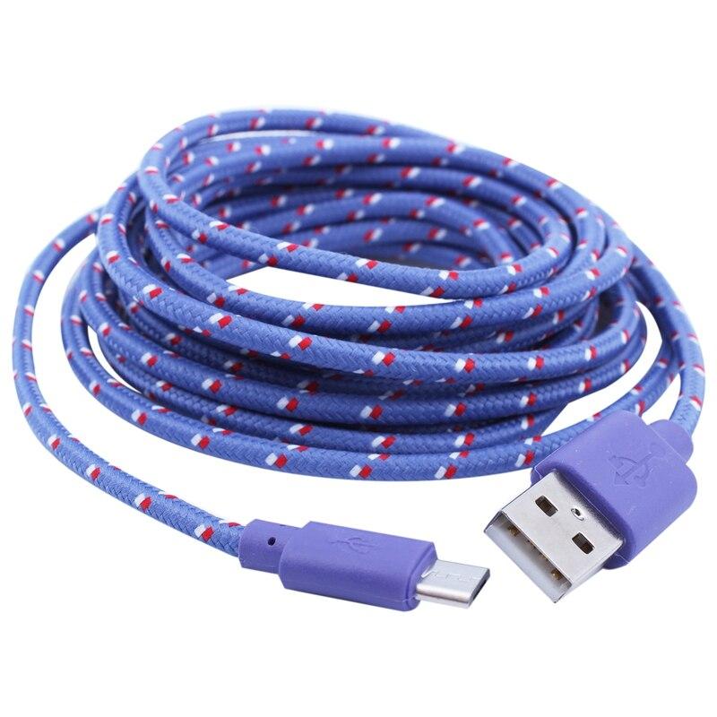 Universal 3M/10FT mini USB rede De Nylon cabo de Dados Para Samsung Galaxy S6 Tecer Roxo