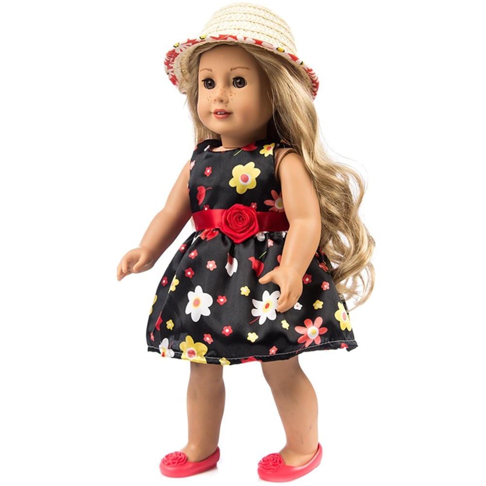 New Born Birthday Children Colorful Fashion Accessory Toys Doll Clothes DIY With Cap Printed Skirt C