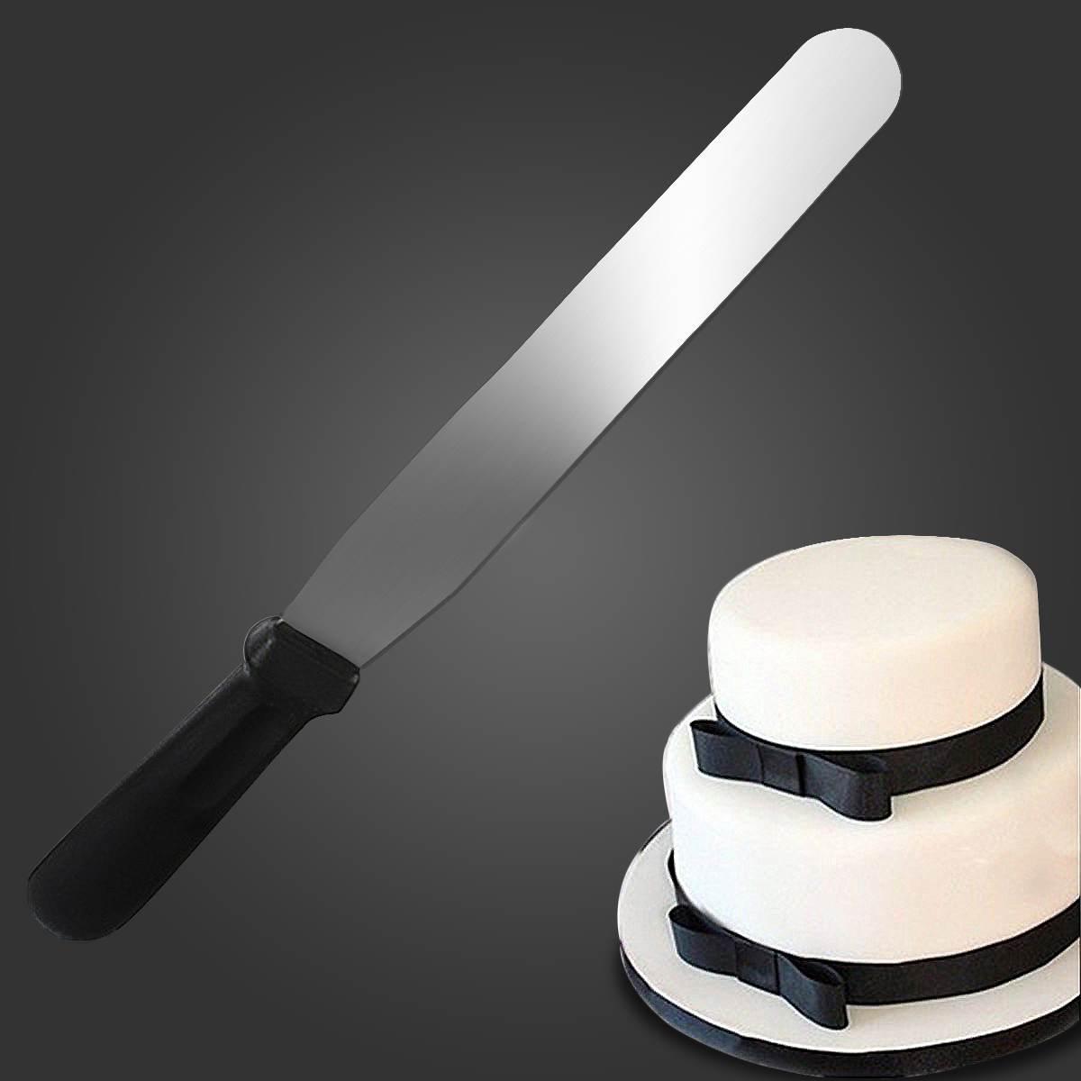 Aço inoxidável 12 polegada espátula manteiga bolo creme faca reta espalhar mais suave espalhador fondant pastelaria bolo decoração