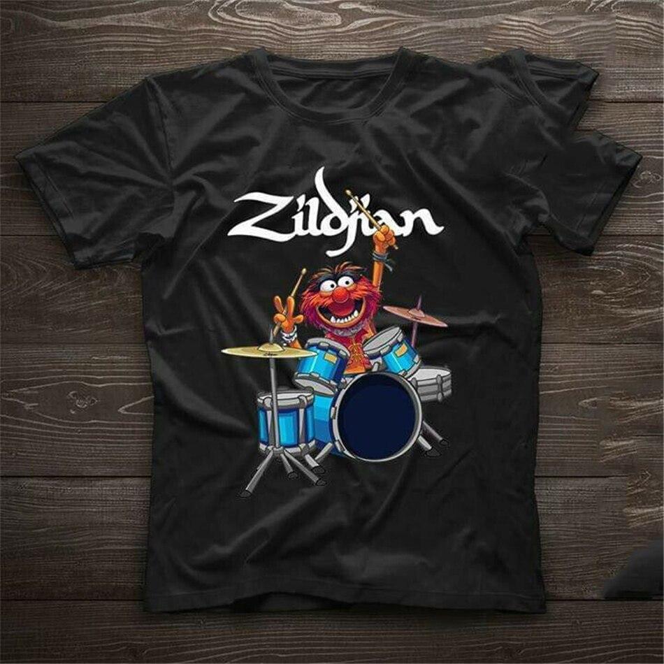 The Muppet Show Zildjian tambores Negro hombres algodón camiseta tamaño S-3XL camiseta full-figured