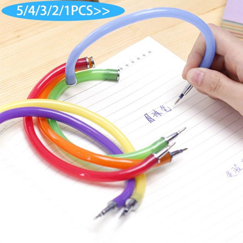 5 uds. Bolígrafo Flexible creativo, bonito brazalete de plástico suave, bolígrafos, bolígrafos para escuela, regalos de oficina, suministros de pluma promocional