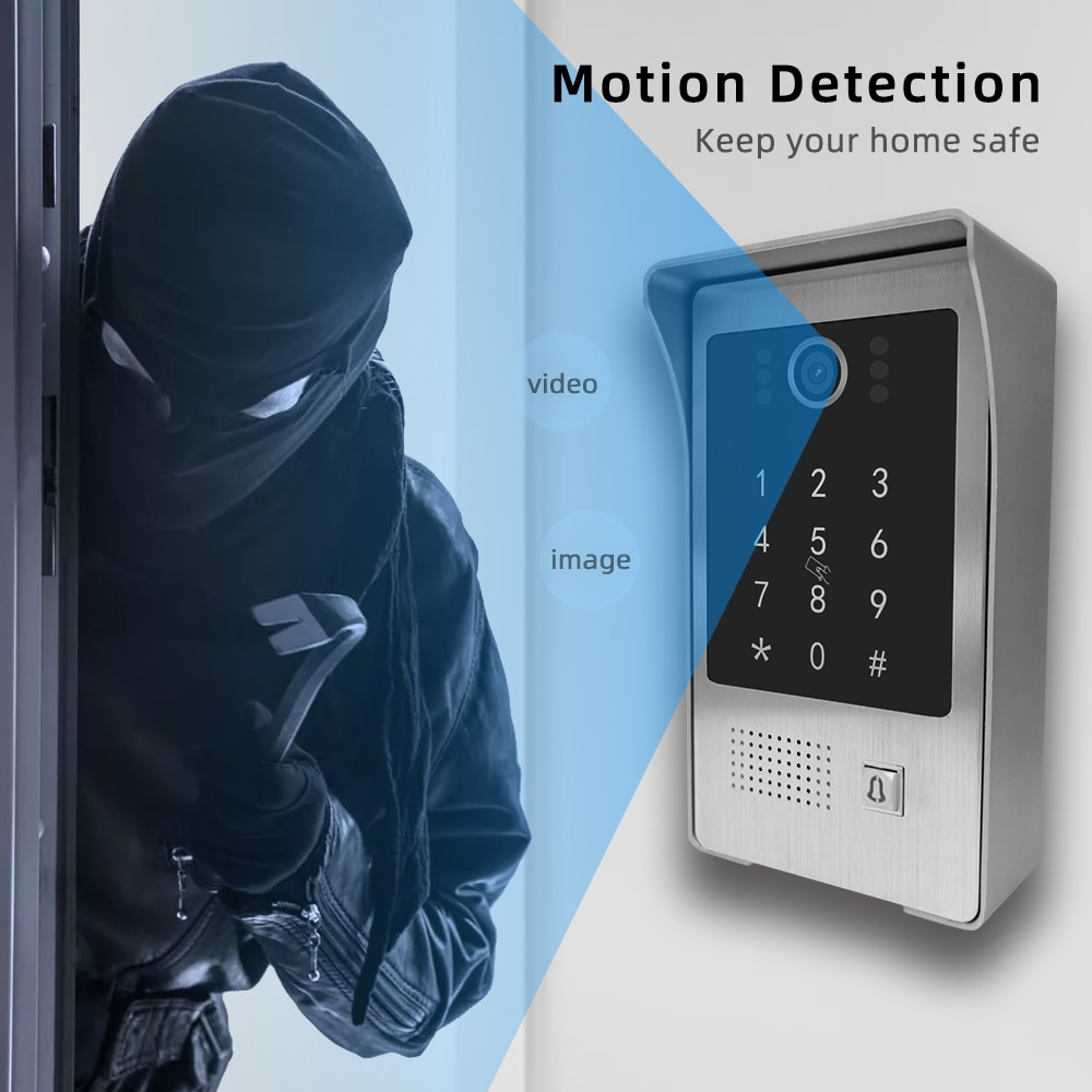 Doornanny WiFi Video Intercom System For Vill With WiFi Remote Control Function Support Unlock By Card & Password 2Camera Set enlarge