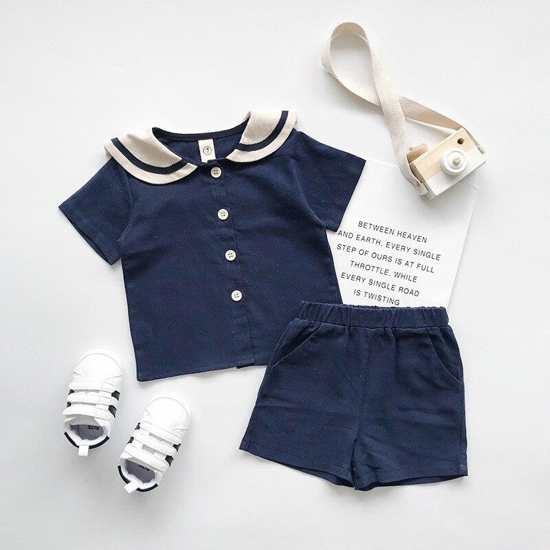Conjunto de 2 uds de verano para bebés y niñas, camiseta informal Estilo marinero de manga corta, conjunto de trajes y pantalones cortos