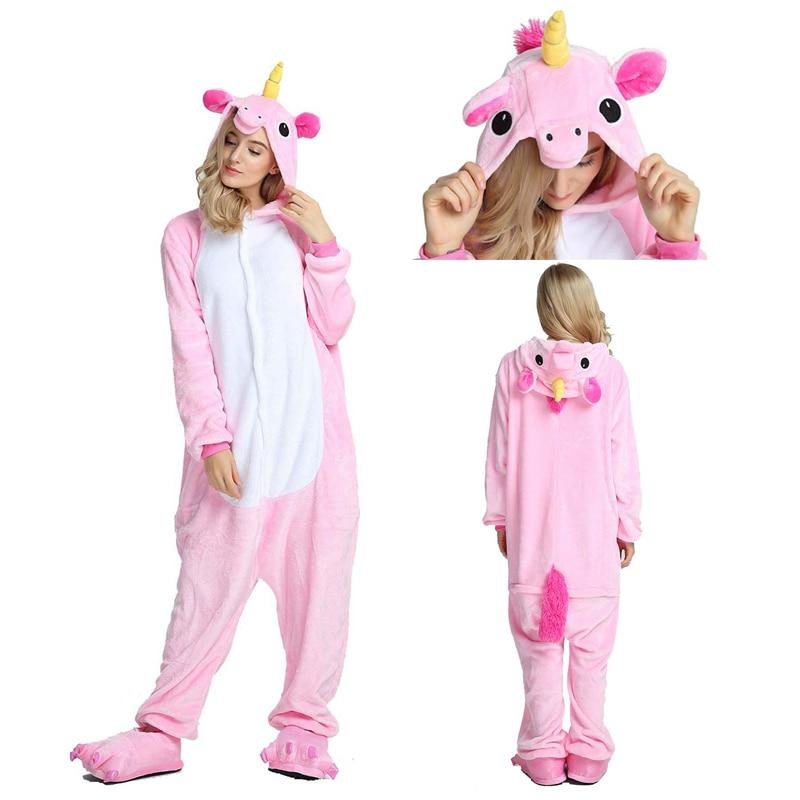 Adult Kigurumi Pajamas Onesie Animal Pink Unicorn Pajamas for Women Flannel Couple Winter Pajamas Sleepwear Home Clothes