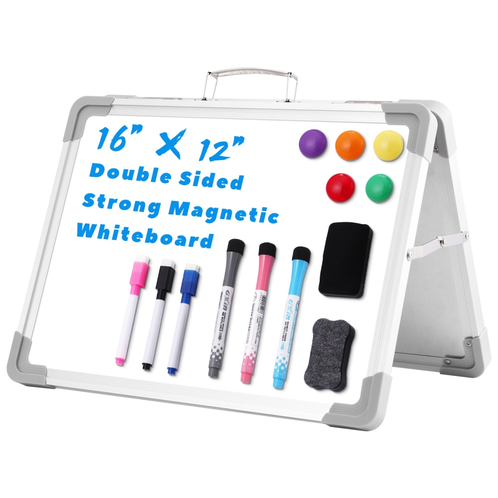 STOBOK Dry Erase Board Double Sided Magnetic Whiteboard Portable Easy Carry Dry Erase Whiteboard with Markers & Magnets & Board