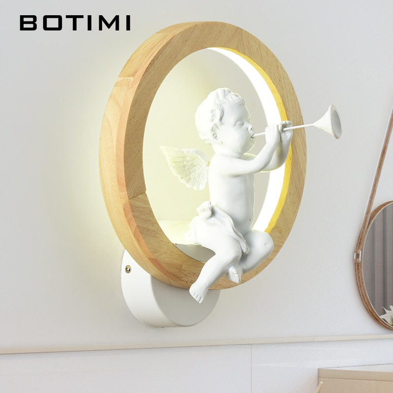 BOTIMI скандинавские светодиодные Настенные светильники, современные настенные бра, деревянные прикроватные светильники, настенные светильники для ангела, Светильники для птиц