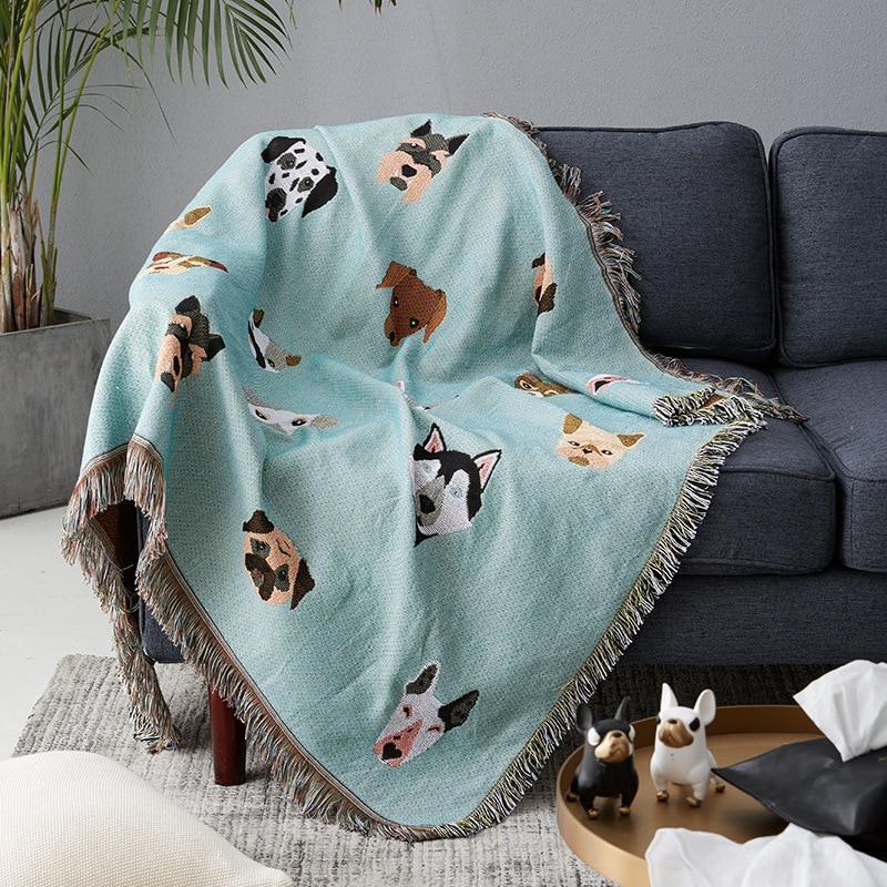 LovelyThrow manta para sofá cama silla antideslizante mantas funda Cobertor colcha de textiles para el hogar de perro lindo