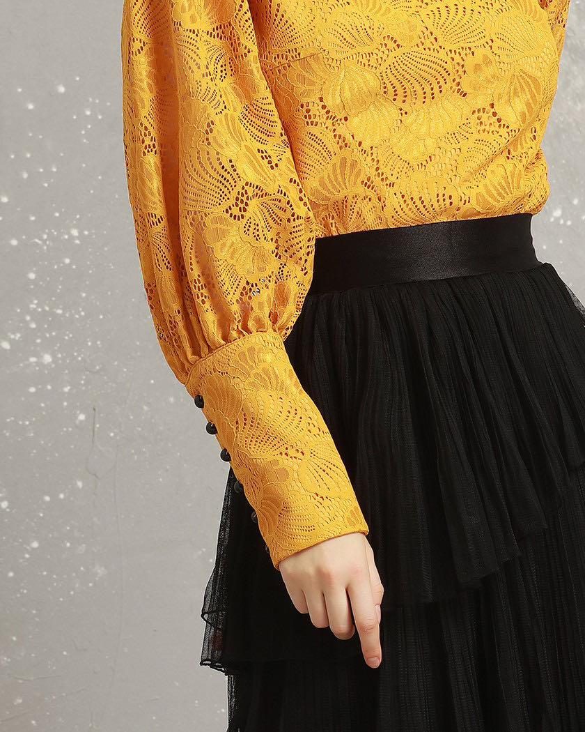 Women's Lantern Sleeve Lace Top with Square Collar enlarge