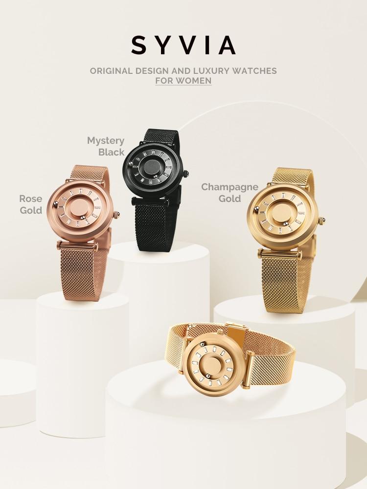 Golden Women's Quartz Wristwatch Rose Gold Bracelet Luxury Ladies Watch 2021 Elegant Stainless Steel Unusual Gift Girlfend Lover enlarge