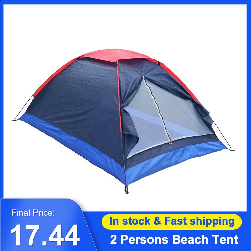 Двухместная палатка для кемпинга, однослойная Пляжная палатка, уличная дорожная ветрозащитная Водонепроницаемая тентовая палатка, летняя ...