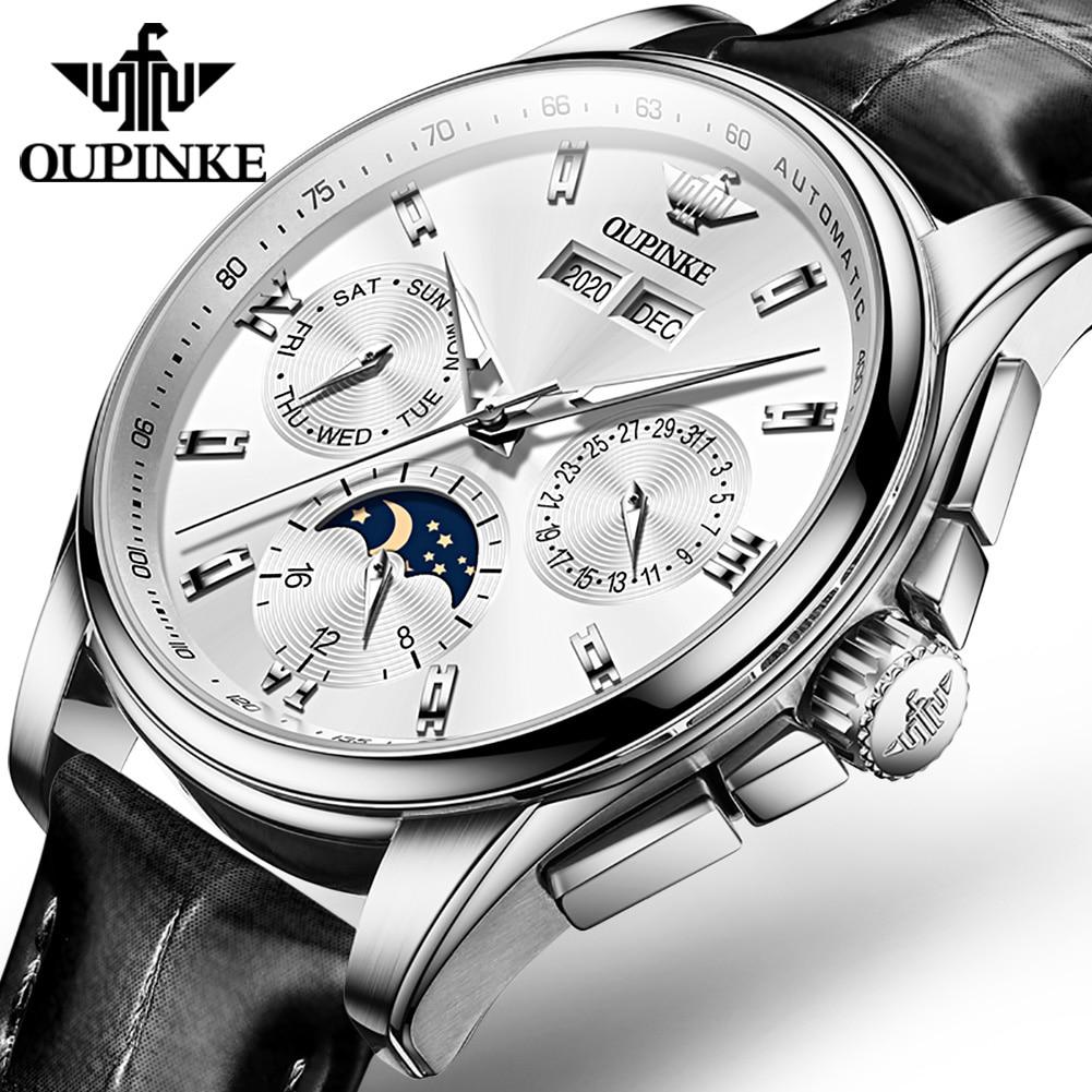 OUPINKE Men Mechanical Watch Top Brand Luxury Automatic Watch Waterproof Leather Sapphire Moon Phase