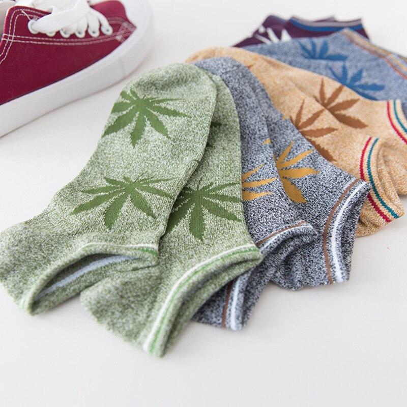 Harajuku meias masculinas algodão hip hop skate maple leaf cânhamo tornozelo meias de algodão meias de verão presentes para homem