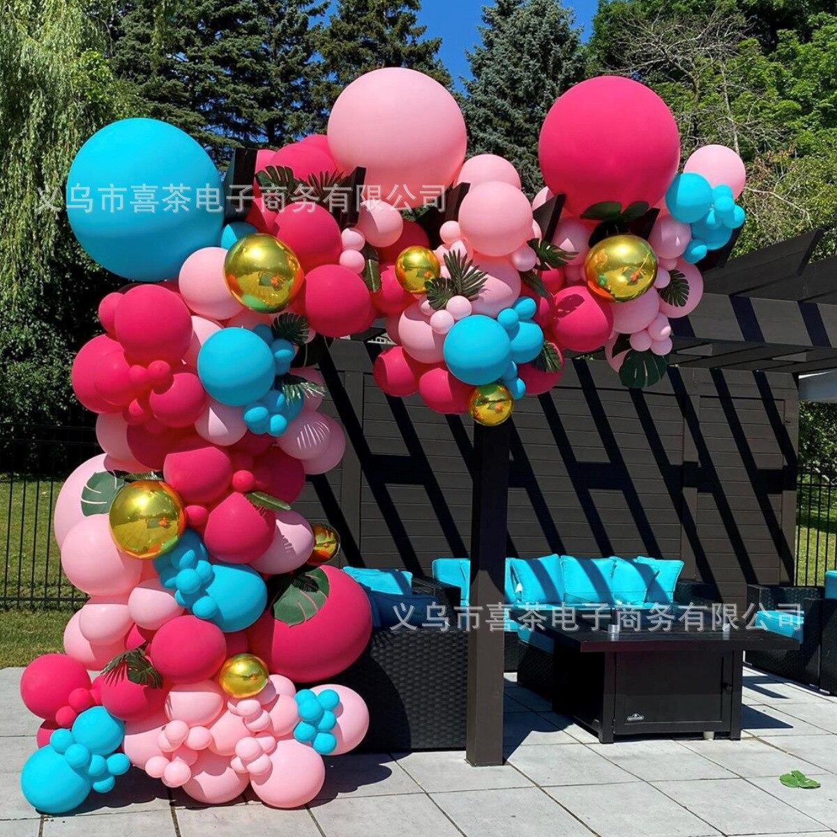 2021 New DIY Balloon Garland and Blue Colorful Paper Scrap Balloon Hawaiian Tropical Theme Party Balloon Chain Decorations