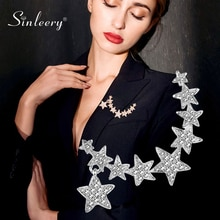 SINLEERY 패션 로즈 골드 실버 컬러 크리스탈 별 브로치 핀 여성을위한 웨딩 파티 액세서리 쥬얼리 Xz067 SSB