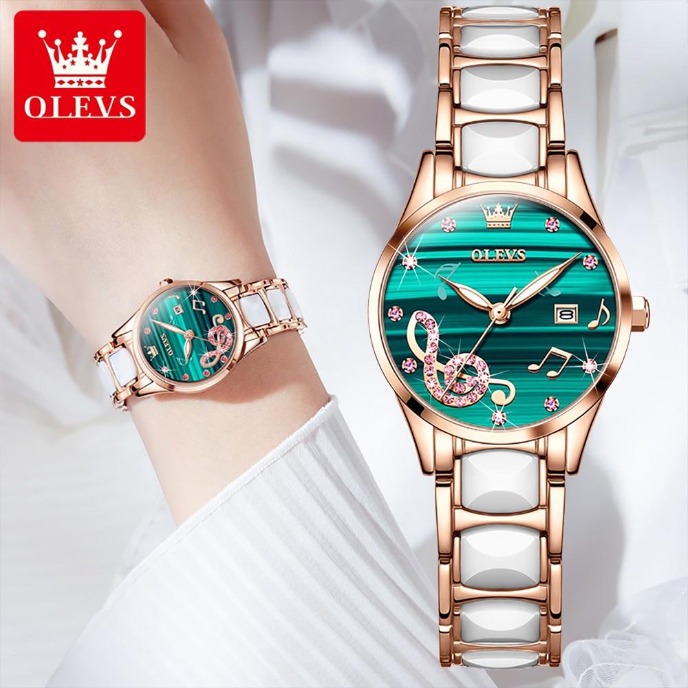 Relógio de Cerâmica Quartzo à Prova Olevs Senhoras Ultra-fino Luxo Mostrador Verde Dsimple Água Temperamento Simples Relógio Feminino 3605 2022