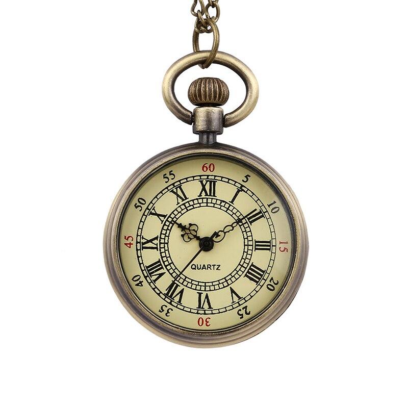 Винтаж карманные часы без флип римская шкала номера средней кварцевые карманные часы творческой личности Подарочные карманные часы