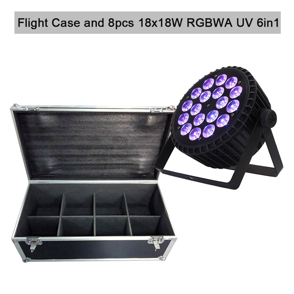 Flight Case with 4/6/8pcs 18x12W 4in1 Led Par Light 18x18W RGBWA UV 6in1 DMX Stage DJ Disco Led Spotlight Nightclub Bar Event