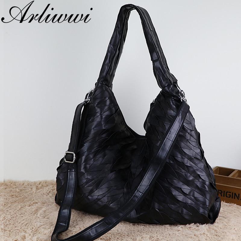Arliwwi Designer Women's Genuine Sheepskin Leather Large Bags New Black Leaf Patchwork Soft Real Leather Cross Body Handbag GJ02