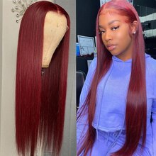 Burgundy Lace Front Wig 30 Inch Brazilian Hd Full Pre Plucked Human Hair Wigs For Black Women 99j Re