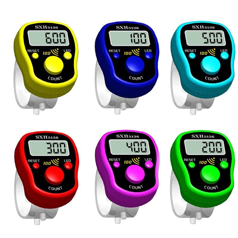Стежка маркер ряд рук Палец счетчик LCD Электрический цифровой дисплей W/светильник для шитья Вязание плетение футбол случайный цвет