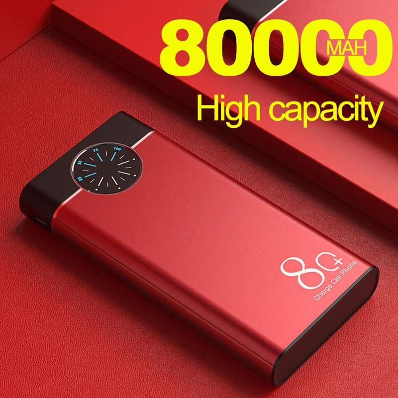 Banco de energía portátil de gran capacidad, carga rápida, Dual USB, luces LED, carga rápida para IPhone, Xiaomi, Samsung, 80000mAh