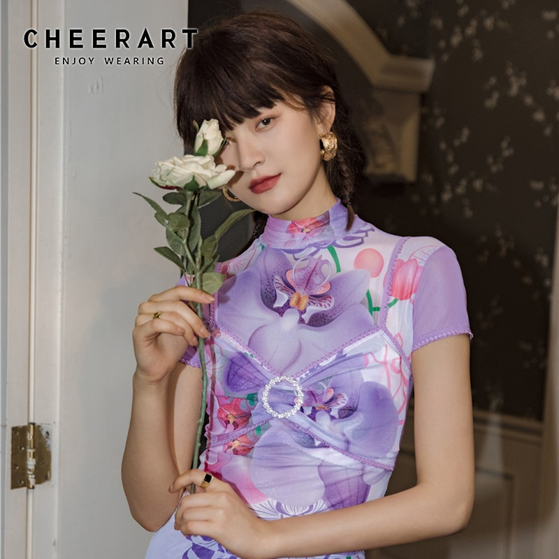 CHEERART Rollkragen Mesh Crop Top Frauen T-shirt Lila Floral Kurzarm Designer T Shirt Sommer Rüschen Engen Top Kleidung