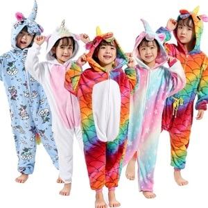 Kigurumi Pajama Unicorn Onesies For Kids Boys Girls Winter Warm Sleepwear Animal Uniocnrio Costume Kigurumi Nightie Cat Pyjamas