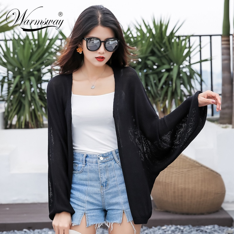Blusa de mujer, Primavera Verano 2020, negro Pluse Size, suéter de punto, abrigo fino holgado, cárdigan, top coreano B-107