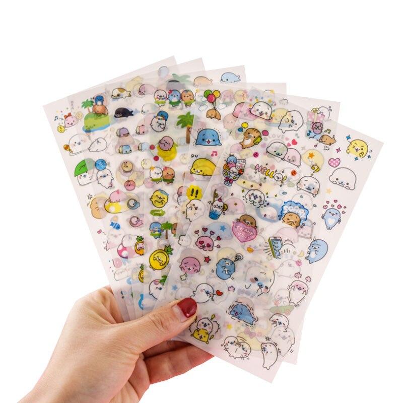 6 hojas/bolsa pequeño león marino Kawaii papel adhesivo decoraciones de diario diy scrapbooking etiquetas sello mano cuenta papelería