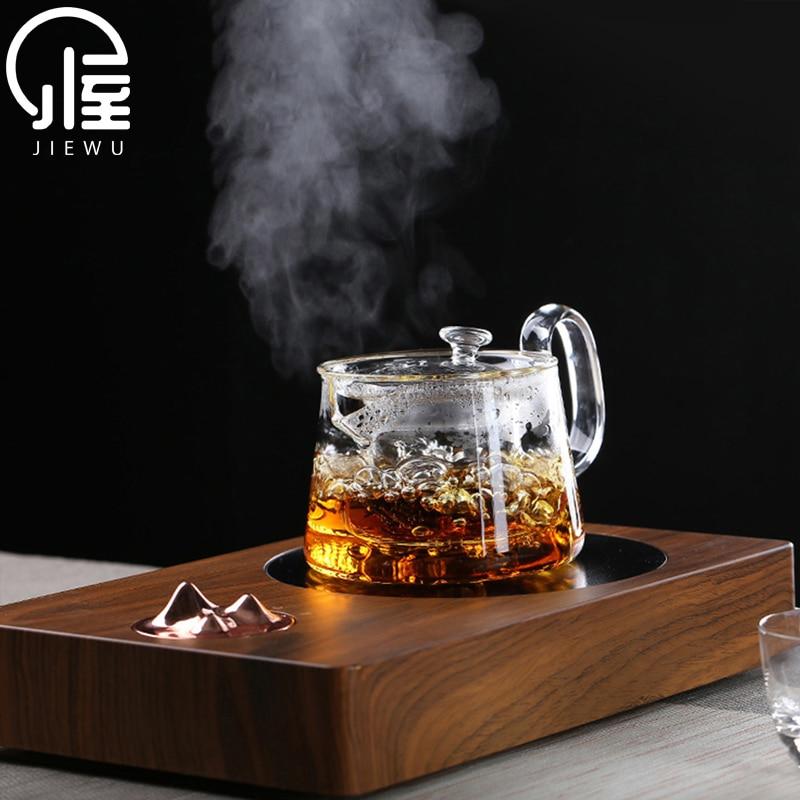 JIEWU النمط الياباني شفاف أبريق شاي زجاجي ارتفاع درجة الحرارة مقاومة مرشح طقم شاي طقم شاي مكتب المنزل اكسسوارات
