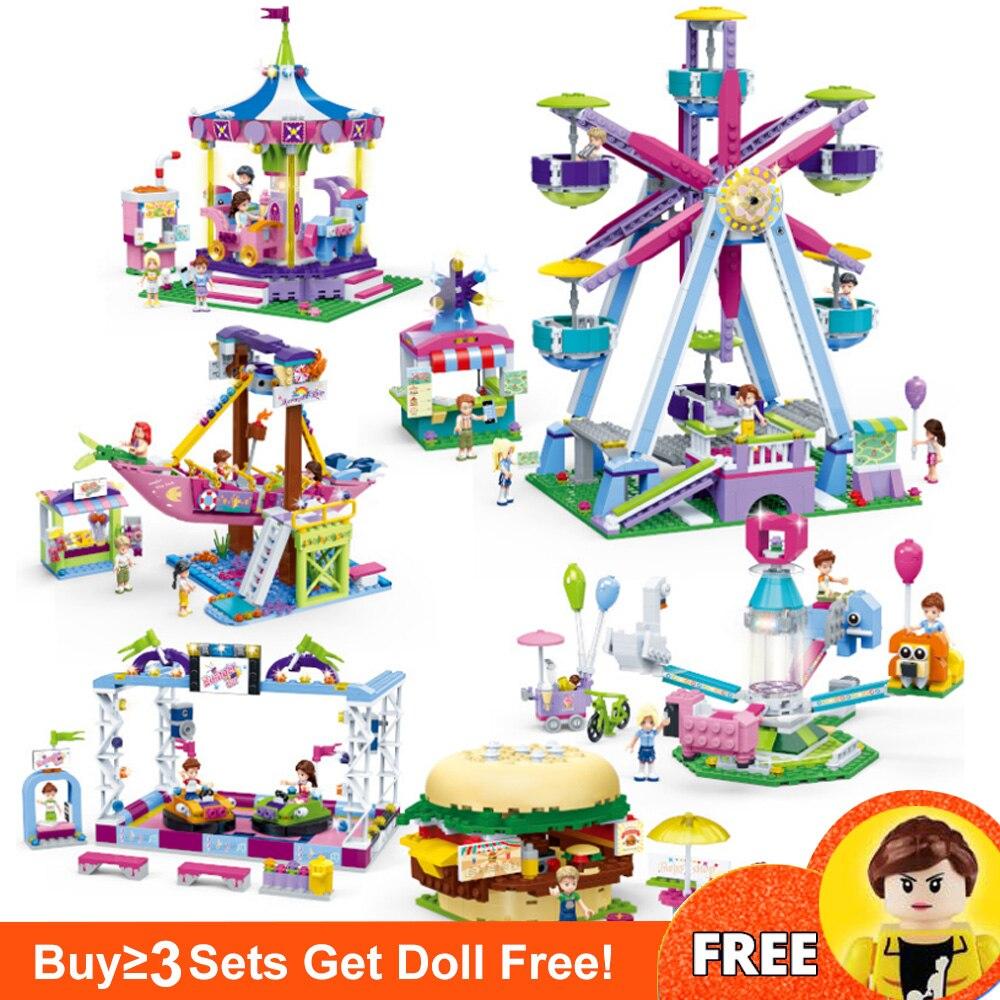 NEW City Friends Series Amusement Park Burger Shop Model Building Blocks Bricks Playground Toys For