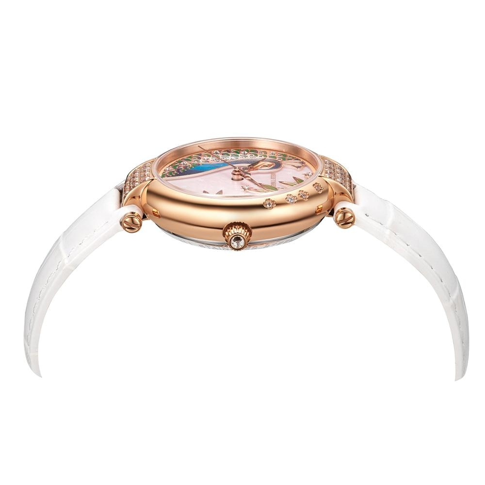 Reef Tiger/RT Top Brand Gold Rose Luxury Automatic Day Date Watch Fashion Ladies Leather Strap Watch RGA1587 enlarge