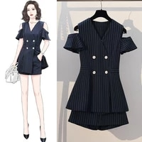 two piece set 2021 korean summer striped women summer casual womens double breasted blazer coat shorts elegant work suits