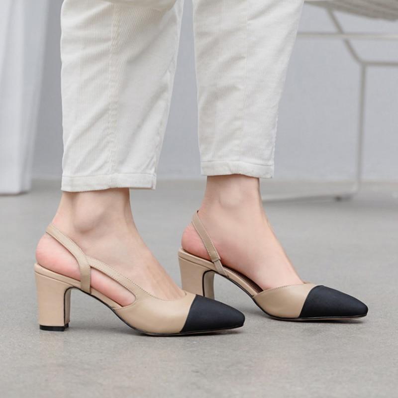 Meotina-حذاء نسائي بكعب عالٍ من جلد البقر ، حذاء نسائي بكعب عالٍ ، سميك ، جلد طبيعي ، ألوان مختلطة ، 43