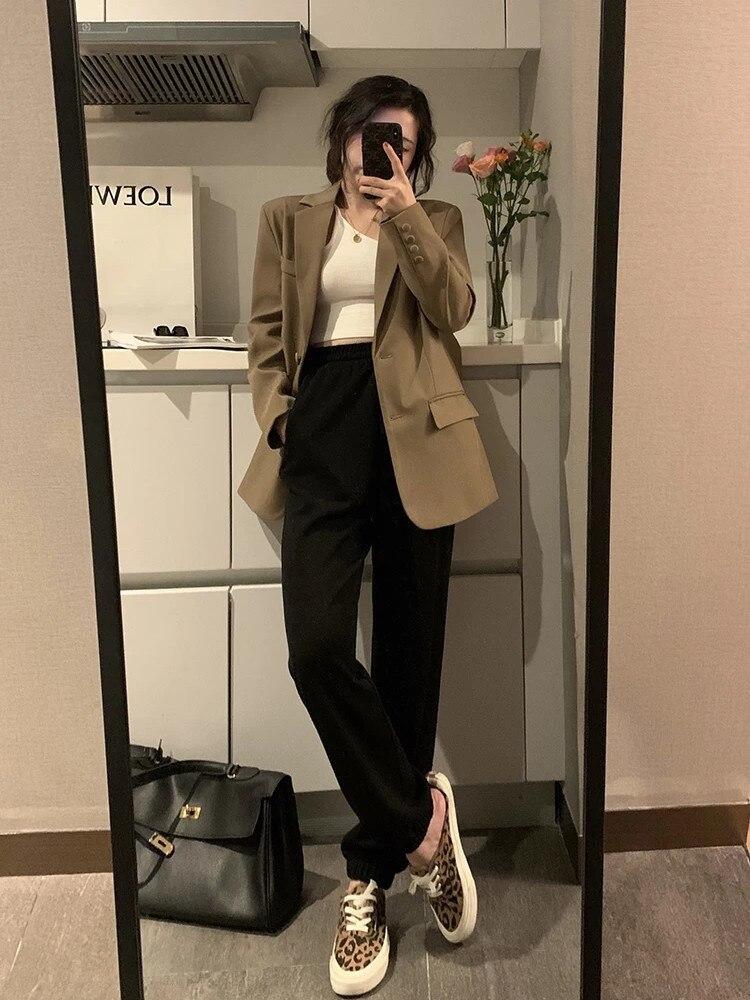 Suit Coat Women's Loose Casual Black Spring And Autumn 2021 New Early Autumn Top Design Sense Minori