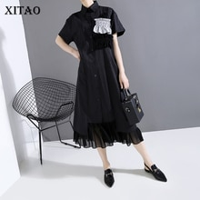 Xitao tendência rendas chiffon vestido feminino manga curta elegante solto single-breasted roupas femininas 2020 novos vestidos vintage zll5040