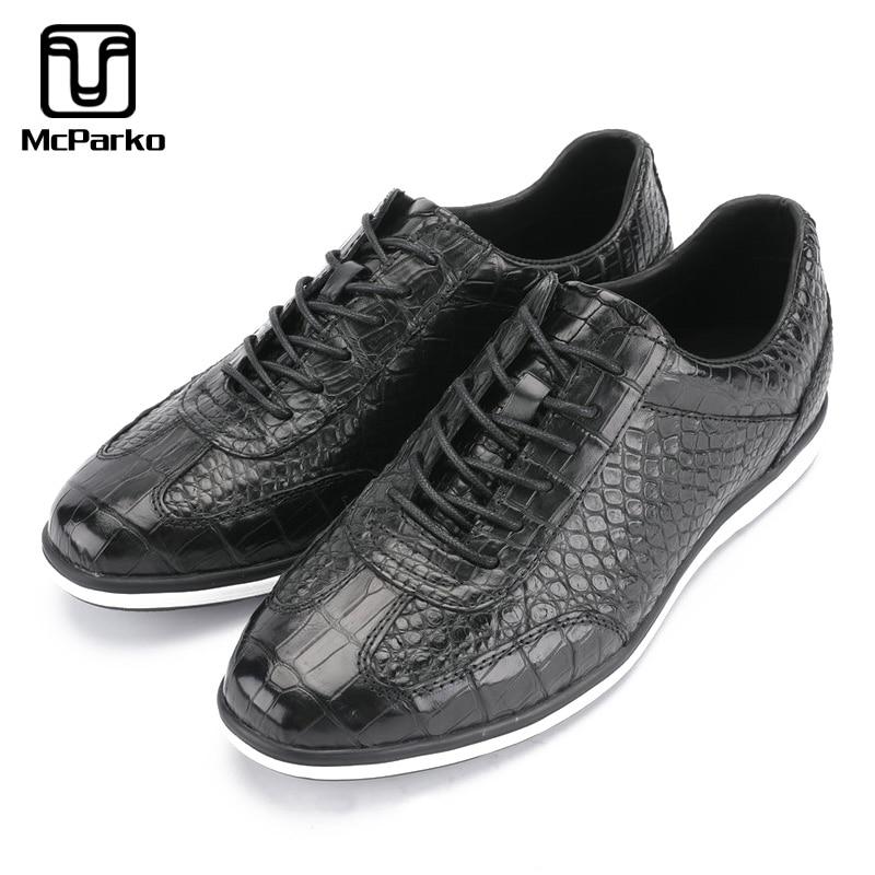 McParko أحذية رجالي عادية حقيقية جلد التمساح أحذية رياضية للرجال الفاخرة تصميم اليومية حذاء فاخر أسود أحذية رياضية جديد