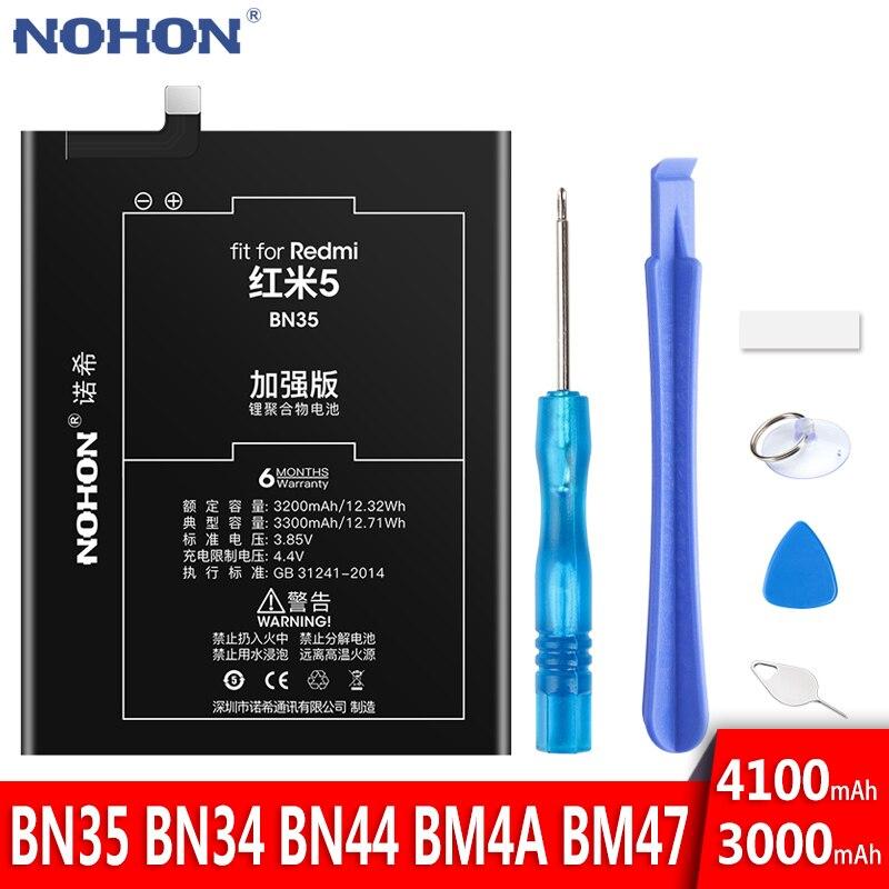 Nohon bateria para xiaomi redmi 5 plus 3 pro 3 s 4x 5a bn35 bm47 bm4a bn44 bn34 baterias de substituição do telefone móvel bateria + ferramentas