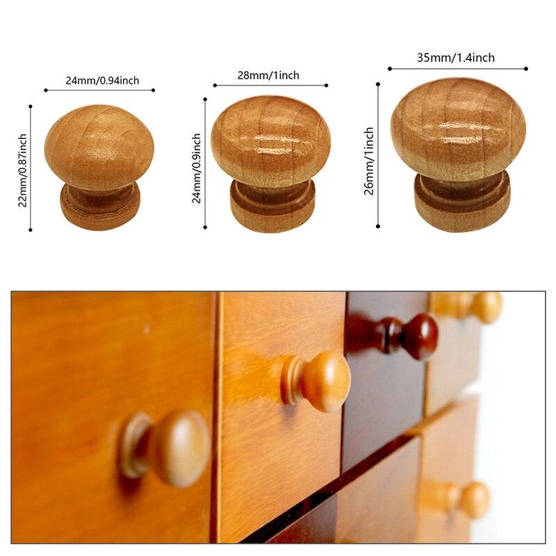10 unids/pack manijas de madera Natural del armario del cajón del Gabinete tiradores de armario tirador de puerta mango de cocina de Hardware de muebles de bola